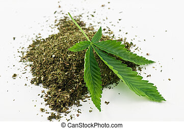 marijuana - dry marijuana and green leaf