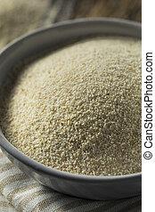 Dry Organic Ground Farina Wheat in a Bowl