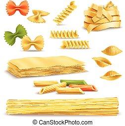 Dry Pasta Assortment Realistic Icons Set