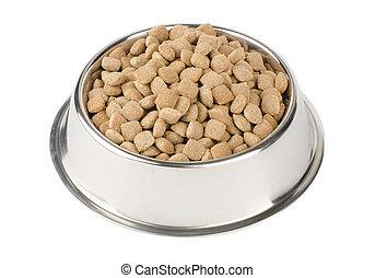 dry pet food in a metal bowl