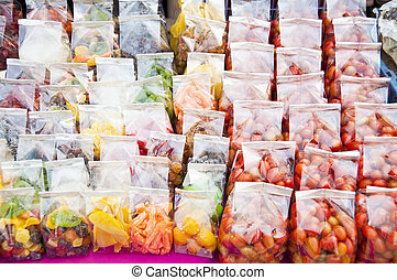 Dry preserved fruits. - Dry preserved fruits in plastic bag.