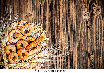 Dry pretzel on old wooden table