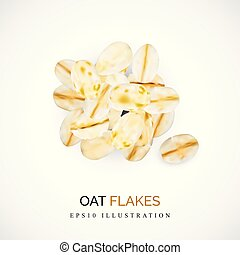 Dry Raw Oat Flakes or Oatmeal Vector Illustration