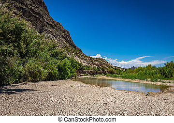 A dry river bed during a hot summer at Big Bend National Park in Texas.