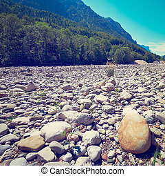 Dry River Bed in the Bavarian Alps, Germany, Retro Effect
