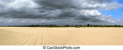 Vistula river-bed during very dry summer. Panoramic view. Far away other coast and some water surface visible. Ecology disaster.