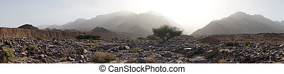 Dry riverbed and mountain in Jordan