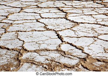 Dry salt field in Dead Sea Israel
