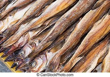 Dry salty fish close up