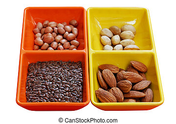 Dry seeds - almond, pistachio, peanut and flaxseed - Dry ...