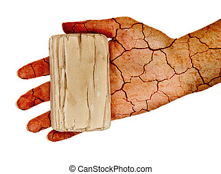 Dry skin - Cracked hand holding dry soap. Isolated on white.