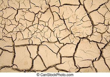 Dry soil - global warming - Dry soil with large cracks -...