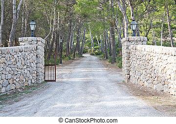 Dry stone gates by luxurious estate, Mallorca, Balearic islands, Spain.