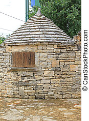 Dry Stone Hut Building Structure With Conical Roof