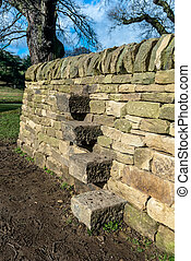 Stone steps interlocked into a dry stone wall.