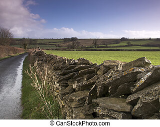 Dry stone wall along a country lane