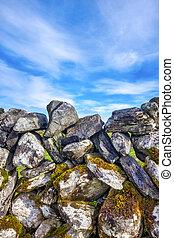 Close up of a an irish dry stone wall