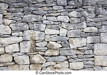 Closeup of dry stone wall as background
