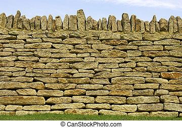 Dry stone wall detail, Batsford church, Gloucestershire,...
