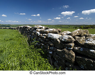 English countryside scene including a dry stone wall
