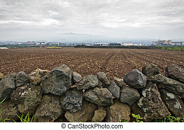 Fragment of dry stone wall and a field in a countryside