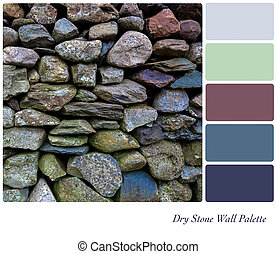 Dry-stone wall palette - Detail of an old dry stone wall in...