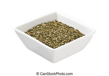 dry tea leaves on a square plate