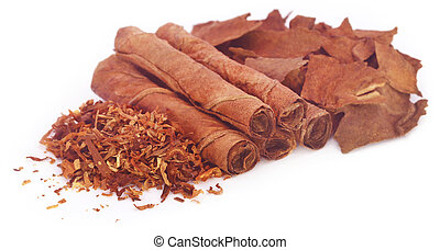 Dry tobacco leaves with hand made cigarette