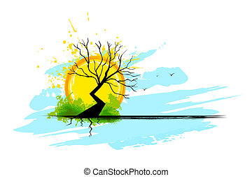 Green and dry tree. Illustration of tree half full of ...