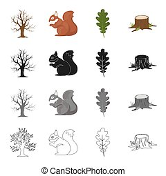 Dry tree in the forest, squirrel, oak leaf, stump. Forest set collection icons in cartoon black monochrome outline style vector symbol stock illustration web.