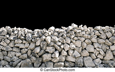 ancient dry stone wall isolated on black background