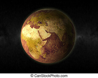 dry world - 3d rendering of a dry earth