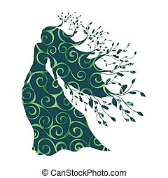Dryad nymph forest pattern silhouette ancient mythology...