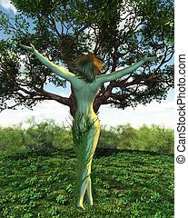 Dryad or Tree Nymph with her tree - Dryad or tree nymph from...