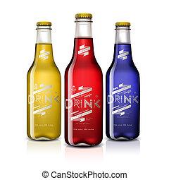 drycken, olik, vit, flaskor, isolerat