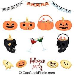 drycken, sätta, skallar, halloween, karamell, vektor, pumpor, decorations., garlands.