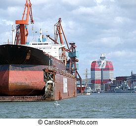drydock at gothenburg 03 - giant industrial tanker...