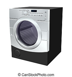 3D digital render of a dryer isolated on white background