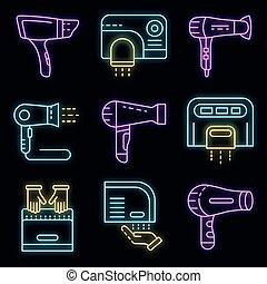 Dryer icons set vector neon
