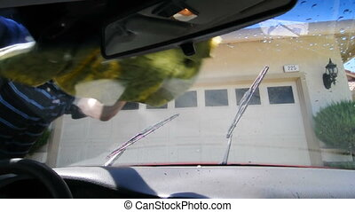 Drying a car's windshield