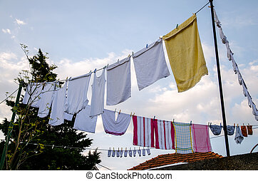 drying clother on the rope