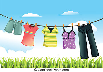 Drying clothes - A vector illustration of clothes drying...