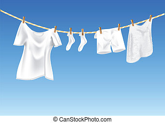 drying clothes against a blue sky. 10 EPS, using mesh gradient