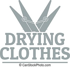 Drying clothes logo, simple gray style - Drying clothes...