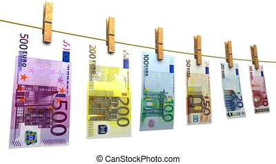 Hanging euro bills. Perfect for your own background. Seamless loop, no motion blur, clean mask.