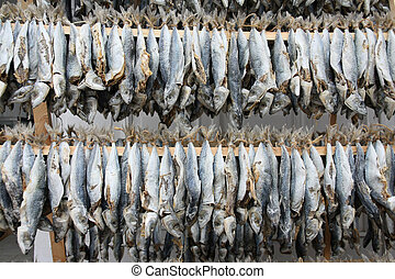 Drying fish on wooden shelf
