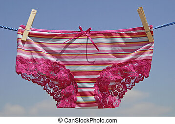 drying lingerie - lingerie garment hanging on clothes line ...