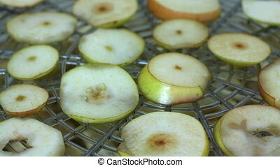 Drying pears on electric dehydrator