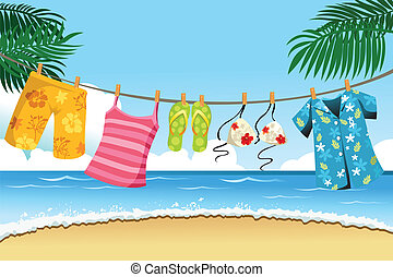 A vector illustration of summer clothes drying outdoor