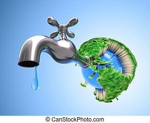 Concept of waste water in the world. Scarce water make the grass die and all life on the Earth.
